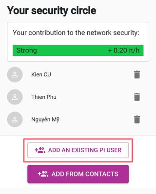 Cách tạo vòng tròn bảo mật Pi Network