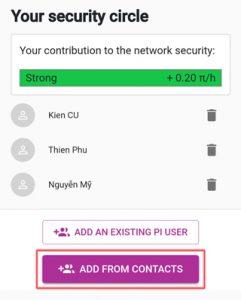 Tạo vòng tròn bảo mật bằng add from contacts