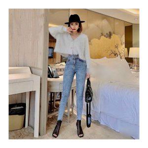 Jean nữ lưng cao xuất khẩu xanh nhạt